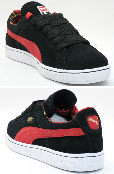 black and red puma suedes