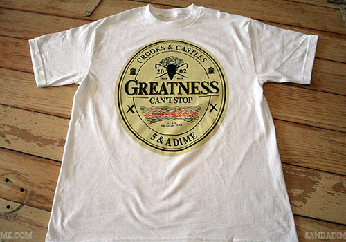 5a dime x crooks castles the greatness t shirt