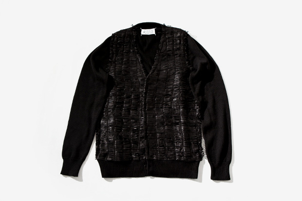 maison martin margiela leather bands cardigan