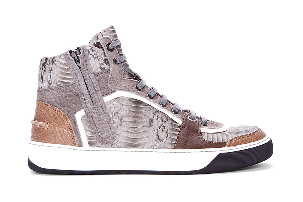 lanvin high top snakeskin tennis shoes hypebeast