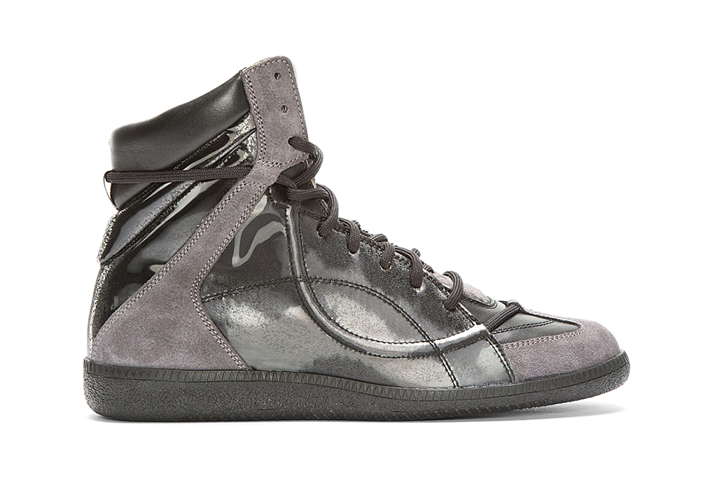 maison martin margiela black reflective high top sneakers. Black Bedroom Furniture Sets. Home Design Ideas