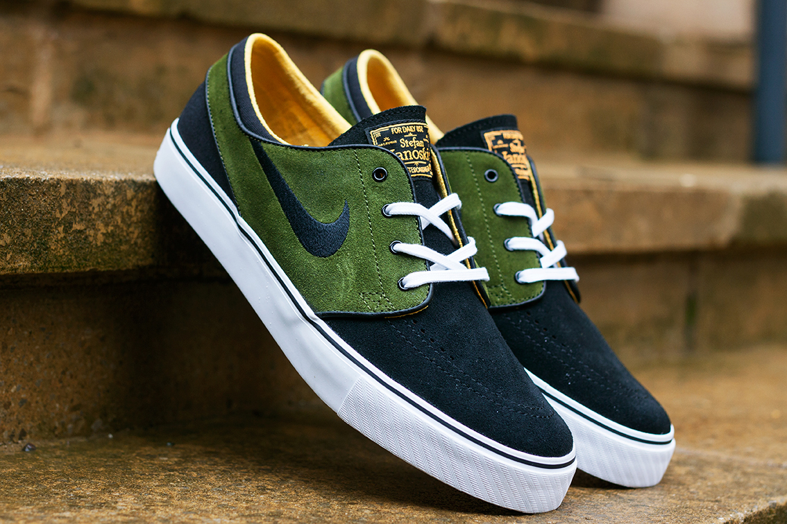 nike sb zoom stefan janoski black legion green laser orange hypebeast. Black Bedroom Furniture Sets. Home Design Ideas