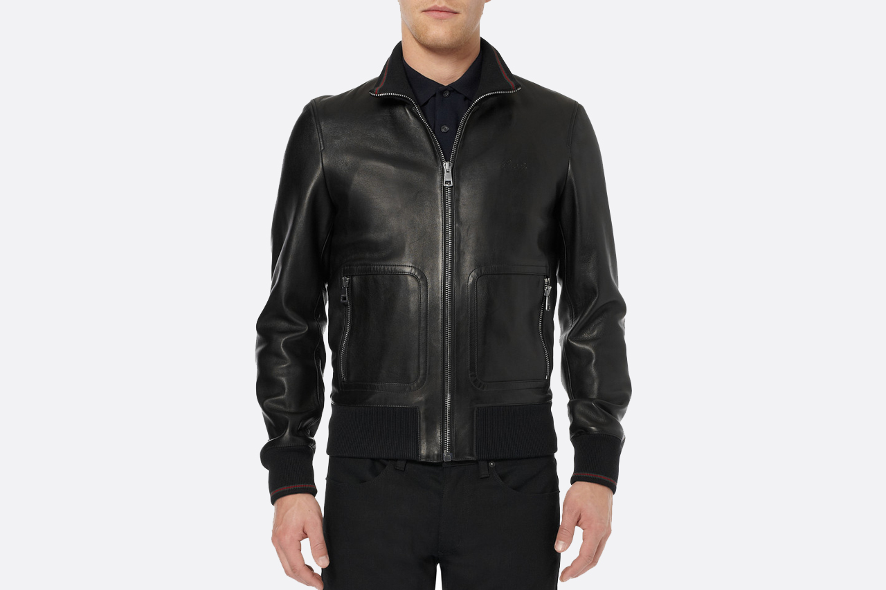 Gucci Nappa Leather and Web Trimmed Bomber Jacket   HYPEBEAST