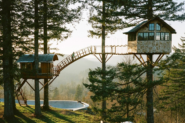 This self built treehouse has a skate bowl and hot tub for Houses built in trees
