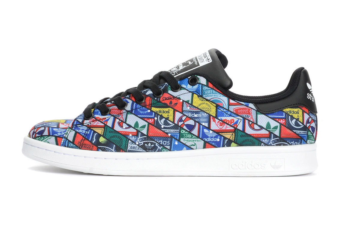 this adidas originals stan smith features a collage of logos hypebeast. Black Bedroom Furniture Sets. Home Design Ideas