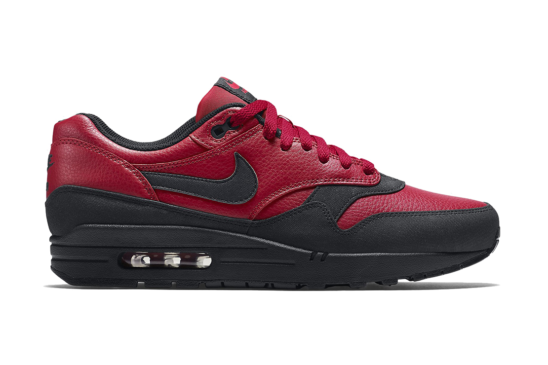 nike air max 1 leather premium gym red black hypebeast. Black Bedroom Furniture Sets. Home Design Ideas