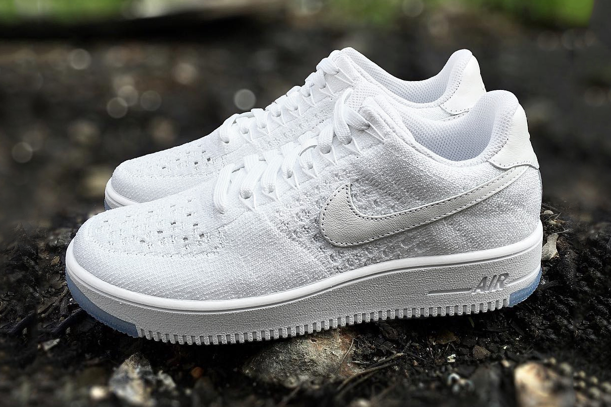 first look nike air force 1 flyknit low white ice sneaker. Black Bedroom Furniture Sets. Home Design Ideas