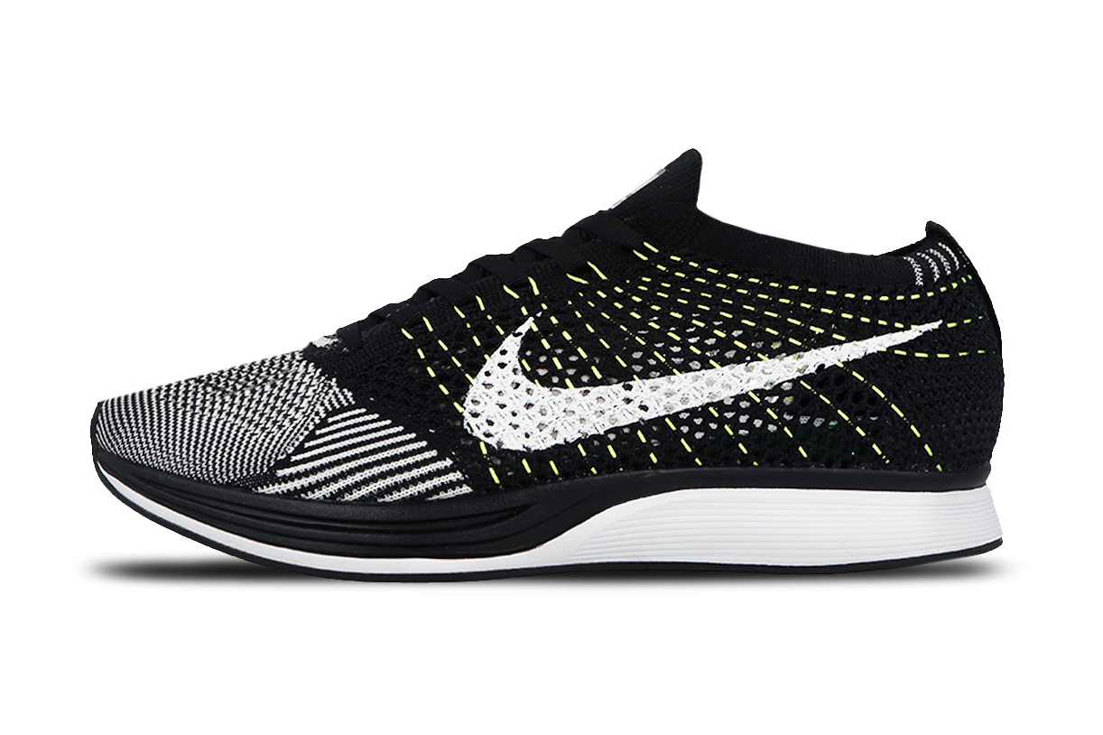 66c32db3e3a0a0 Nike Flyknit Racer Black And White