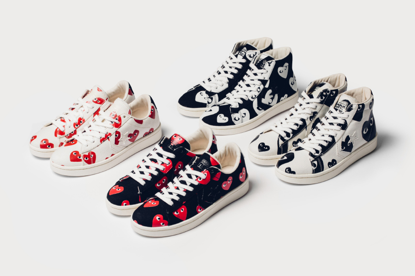 White And Red Heart Shoes