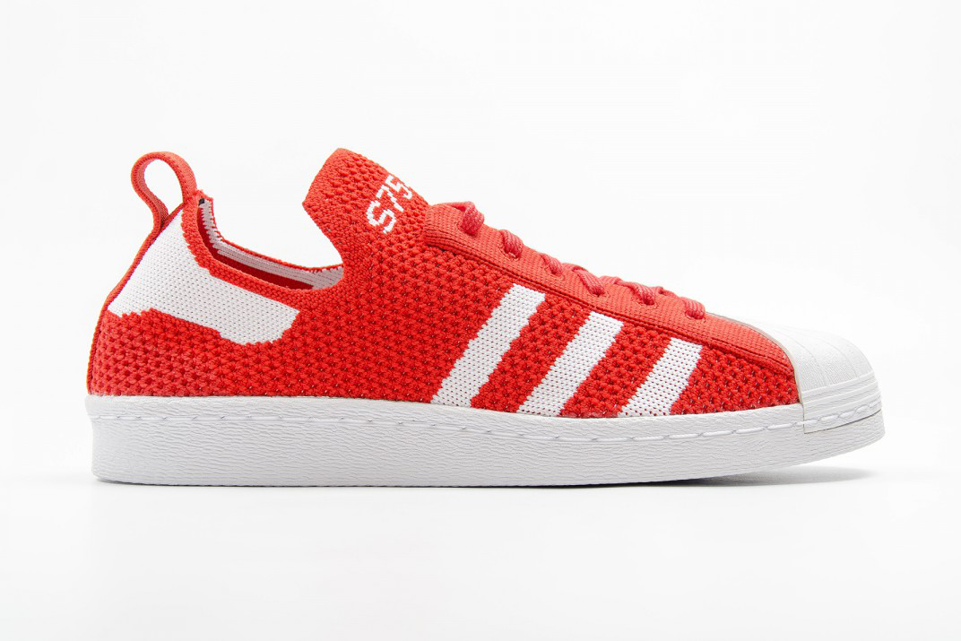 adidas originals superstar 80s primeknit slip on in red. Black Bedroom Furniture Sets. Home Design Ideas