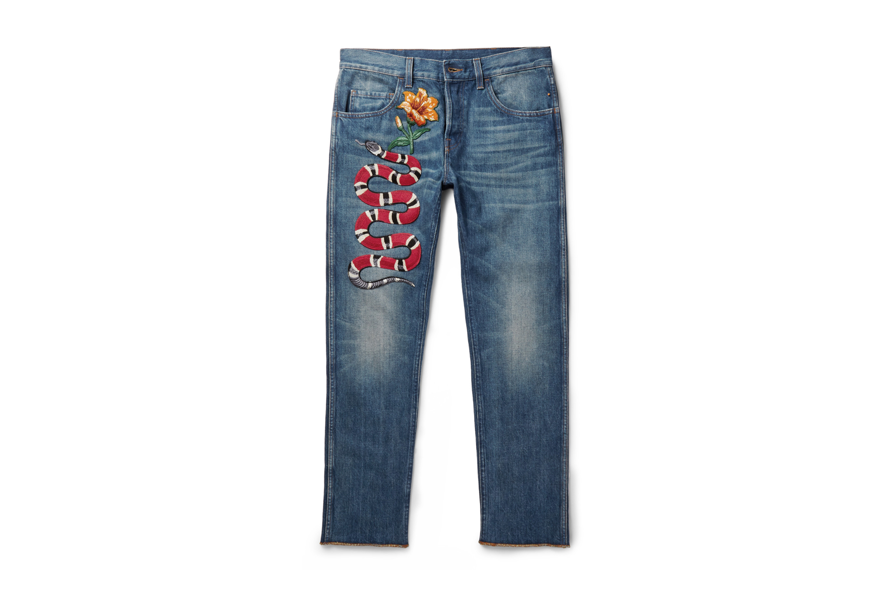 Gucci Flower And Snake Embroidered Jeans