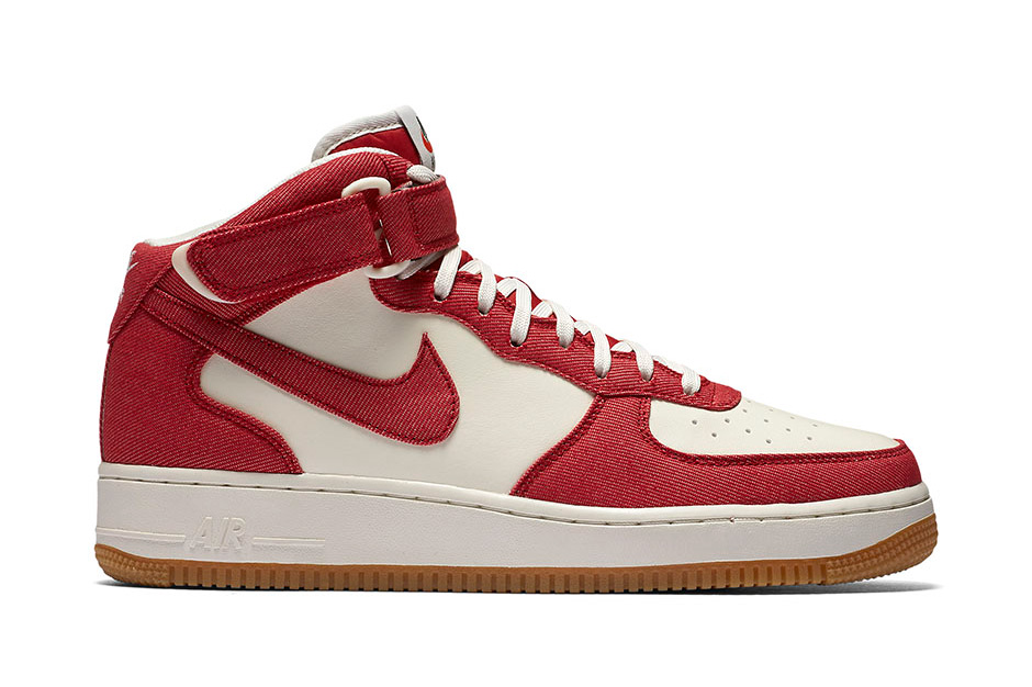 nike air force 1 mid red denim twill. Black Bedroom Furniture Sets. Home Design Ideas