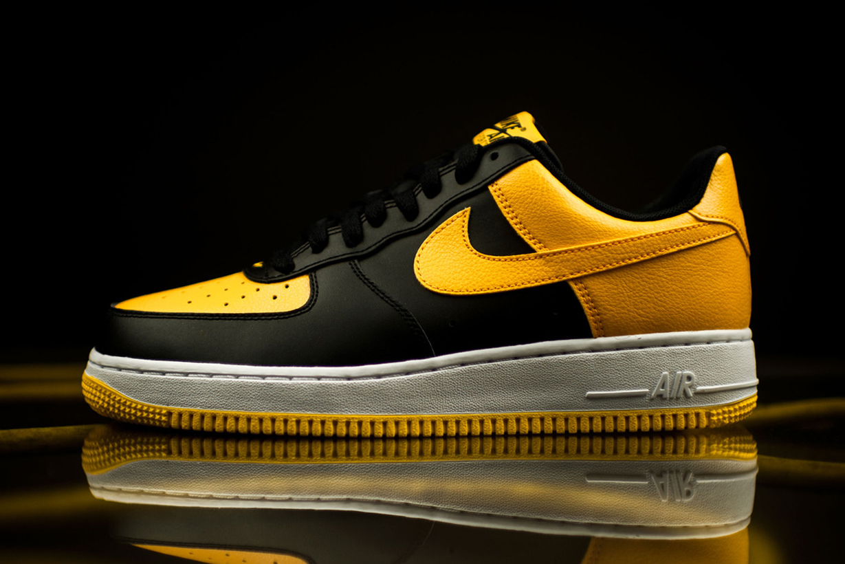 nike air force 1 low black and university gold sneaker. Black Bedroom Furniture Sets. Home Design Ideas