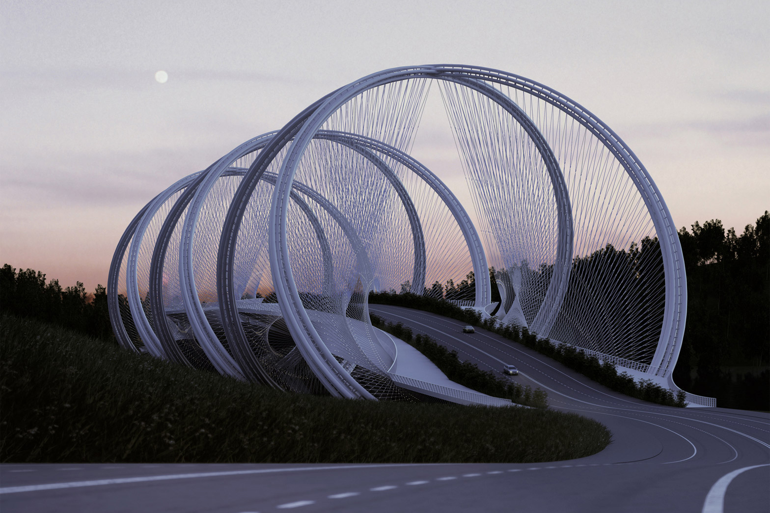 Beijing bridge inspired by olympic rings hypebeast for Suspension transparente