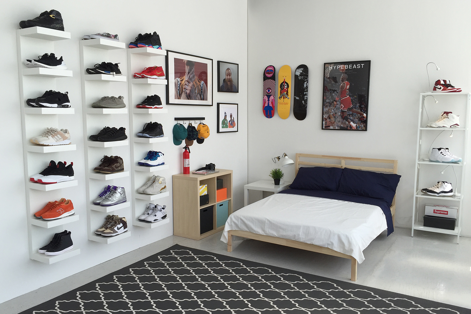 ikea and hypebeast design the ideal sneakerhead bedroom hypebeast. Black Bedroom Furniture Sets. Home Design Ideas