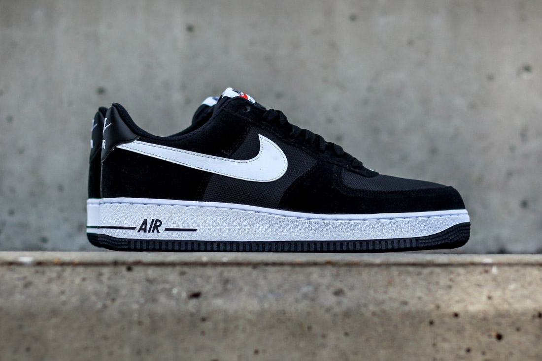 nike air force 1 black and white meshsuede combination