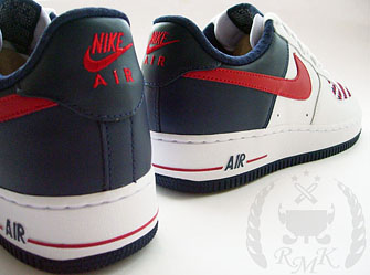 low priced 67e03 186cf Here are some pictures of an upcoming Nike Air Force 1 Low. The use of  blue, red, and white wovened on the toe cap is pretty nice.