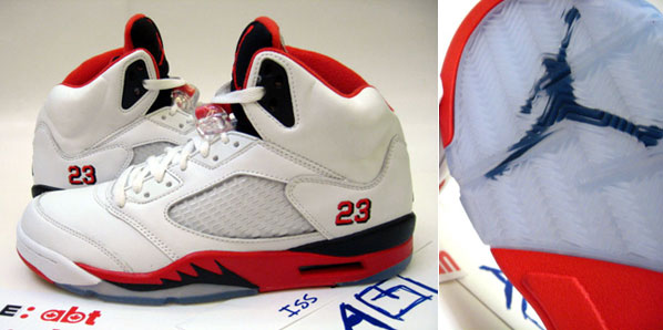 "Here are some images of the Air Jordan Retro V ""Fire Red"" sample. With the  recent release of the green bean and the grapes, this upcoming ""Fire Red""  release ..."