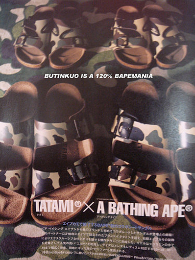 Tatami (a division of famed sandal maker Birkenstock) and Bape have created  an interesting pairing to release this upcoming Tatami sandal blazed with  Bapes ... 1981ad7128