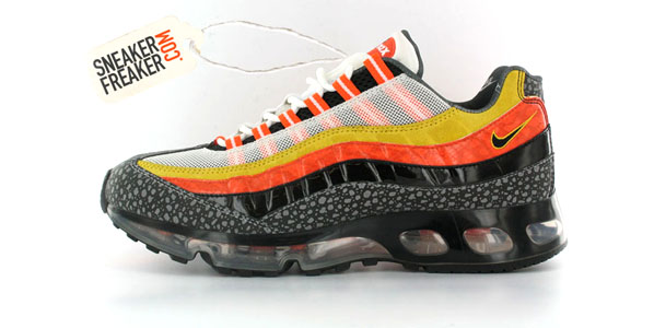 Here\u0027s a look at an upcoming hybrid Air Max 95/360 featuring a mix of red,  yellow and black upper. There are hints of patent leather as well as a  safari ...