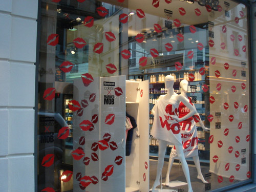 colette x married mob x reebok freestyle high window display