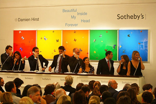 damien hirst beautiful inside my head forever auction recap