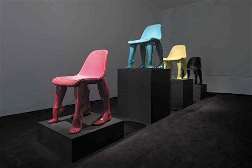 pharrells perspective chairs at gallerie emmanuel perrotin