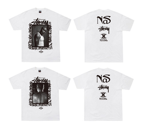 nas x nexusvii x stussy t shirt performance