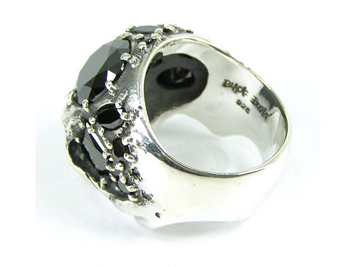 black boots mix stone skull ring