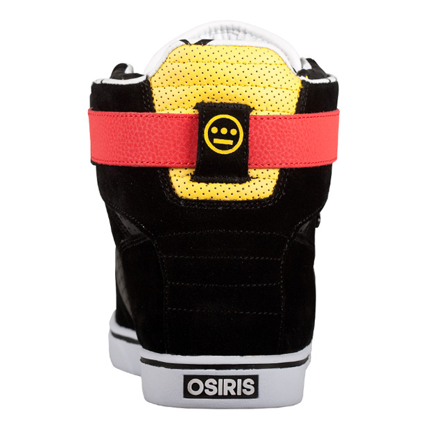 brand's Rhyme high tops. The kicks feature a simple Black/Red/Yellow