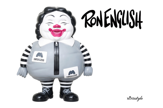 ron english mindstyle mcsupersized me 3ft figure Ron English x MINDstyle McSupersized Me 3 Ft Monochrome Figure
