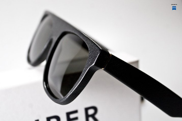 super flat top black leather sunglasses 2 SUPER Flat Top Black Leather Sunglasses