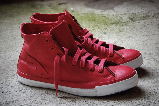 RED Leather Jacket Chuck Taylor