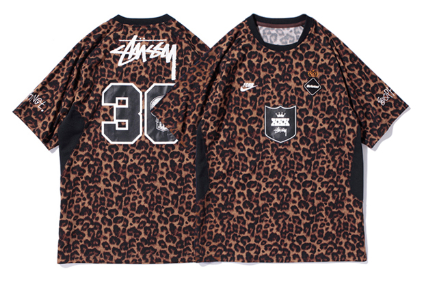 stussy fcrb leopard game shirt