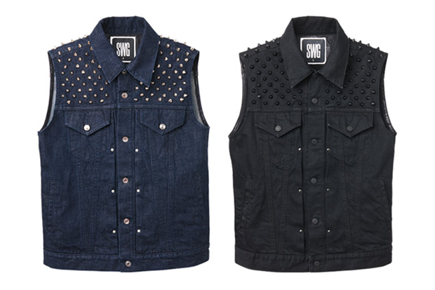 swagger metal denim vest