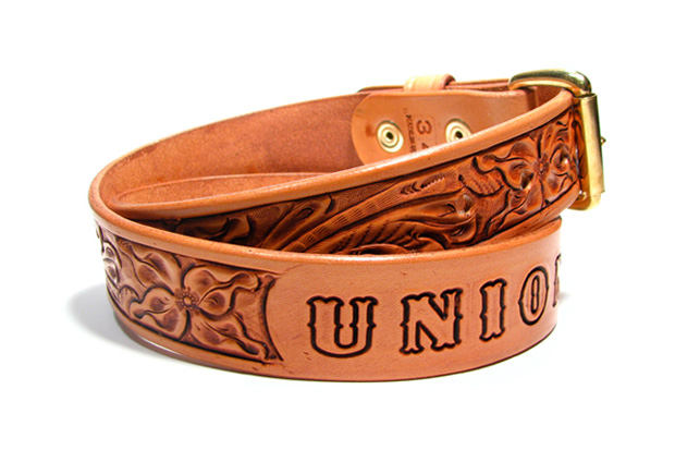 union made tanner goods hand tooled belt