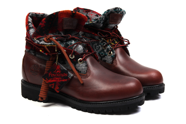 opening ceremony x pendleton x timberland roll top boots