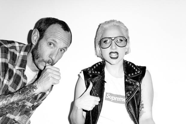 lady gaga for supreme in purple fashion by terry richardson full look