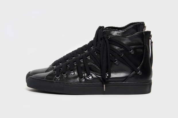 raf simons lace up high top leather sneaker