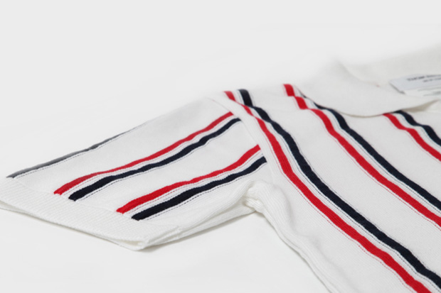 thom browne knitted stripe polo shirt