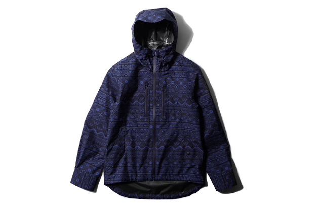 white mountaineering gore tex paclite shell primitive pattern short jacket