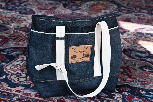 dry bones selvedge denim tote bag