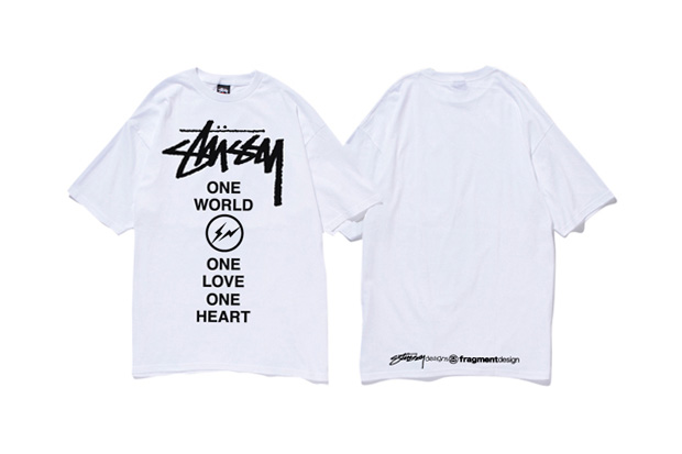 fragment design x stussy 1 world 1 love 1 heart for japan t shirt