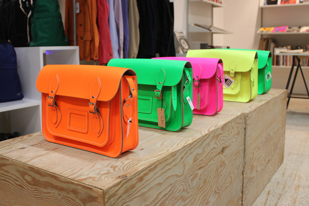the cambridge satchel company for dover street market fluo collection