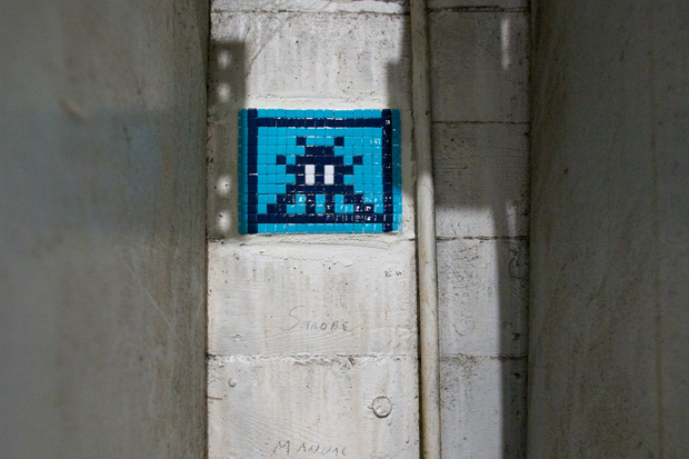 invader at moca art in the streets