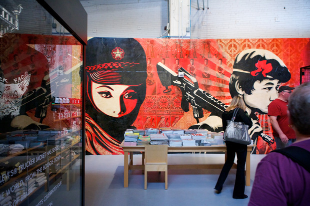 shepard fairey at moca art in the streets