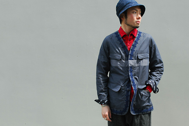 white mountaineering nc herringbone cable embroidery jacket
