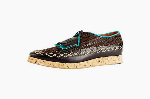 Burberry Prorsum 2012 Spring Summer Wedge Sole Woven Leather Shoes