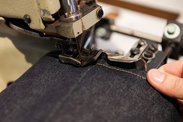 process hemming denim with a union special by self edge