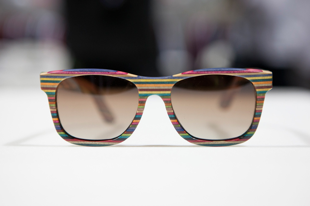 Sunglasses made from recycled skateboards by Diamond Supply Co.